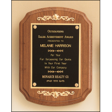 P1070 American walnut plaque with casting accents.