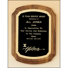 P1397 American walnut plaque with new border design.