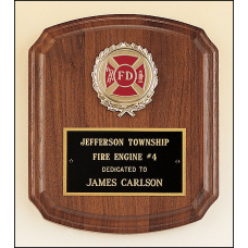 "P1415-X Solid American walnut plaque with 2"" activity insert."