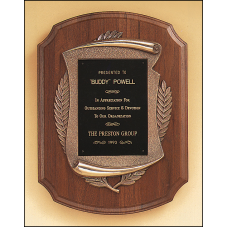 P1433 American walnut Airflyte plaque with furniture finish and an antique bronze finish frame casting.