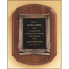 P1438 Solid American walnut plaque with an antique bronze casting.