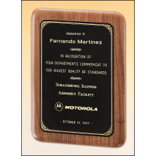 P1611  Solid American walnut plaque with a precision elliptical edge and a black or brushed brass plate with printed border.