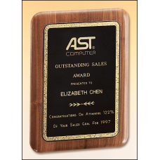 P1621 Solid American walnut plaque with a precision elliptical edge and a black brass plate with gold florentine border.