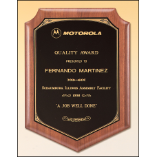 P1646 Solid American walnut plaque with a black brass plate with printed border.