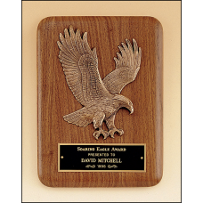 P1681 American walnut plaque with a sculptured relief eagle casting.