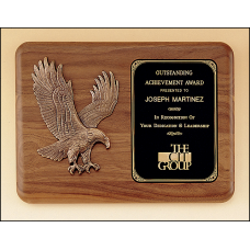 P1683 American walnut plaque with a sculptured relief eagle casting.