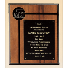 "P1701 Solid American walnut plaque with furniture finish and a 2 1/2"" diameter brass disc."