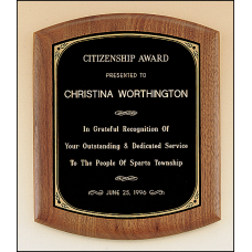 P1801 Solid American walnut plaque with a black brass plate with printed border.