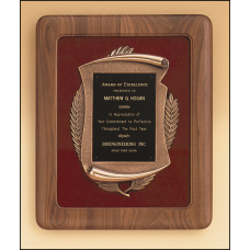 P1873 Solid american walnut Airflyte frame with a furniture finish and an antique bronze finish casting on Maroon velour background.