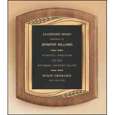 P1901 American walnut plaque with furniture finish and an antique bronze finish frame casting.
