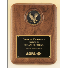 P2294-X American walnut plaque with a finely detailed black and gold eagle medallion.