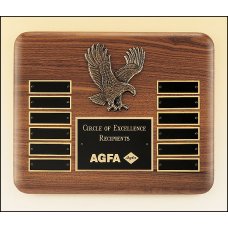 P2296 American walnut perpetual plaque with 12 black brass plates and a sculptured relief eagle casting.