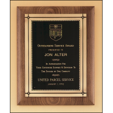 P2373 Solid American walnut plaque with an antique bronze Phoenix frame casting.