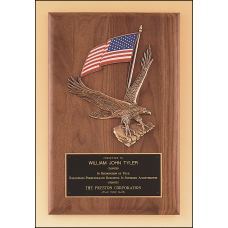 P2394 Solid American walnut Airflyte plaque with a large eagle and American flag casting.