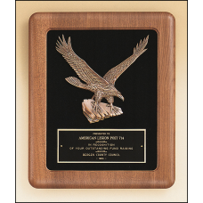 P2397 American walnut Airflyte frame with a sculptured relief eagle casting on a black velour background.