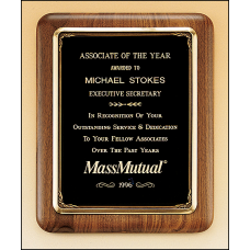 P2967 Solid American walnut plaque with an antique bronze plated metal frame casting.
