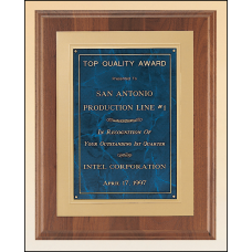 P3120 Solid American walnut plaque available in 3 marble finishes.