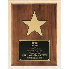 P3328 Solid American walnut plaque with black recessed area and gold aluminum star.
