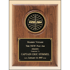 """P3332 Solid American walnut plaque with furniture finish and a 4"""" diameter engraving disc."""