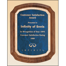 P3462 Coventry Series. Solid American walnut plaque available in three marble finishes.
