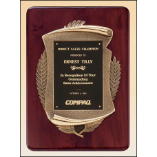 P3624 Rosewood stained piano finish plaque with an antique bronze finished frame casting.
