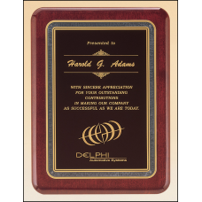 P3717 Rosewood stained piano finish plaque with black florentine border and black textured center.
