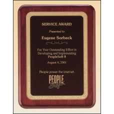 P3741 Rosewood stained piano finish plaque with gold florentine border and black textured center.