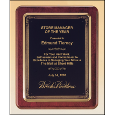 P3747 Rosewood stained piano finish plaque with antique bronze plated metal frame casting.