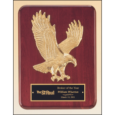 P3749 Rosewood stained piano finish Airflyte plaque with goldtone finish sculptured relief eagle casting.