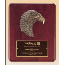 P3753 Rosewood stained piano finish Airflyte plaque with antique bronze finish finely detailed eagle casting.