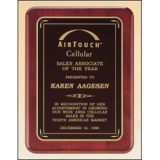 P3756 Rosewood stained piano finish plaque with gloss black border and matte black center.