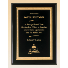 P3816 Black stained piano finish plaque with a black textured center plate and florentine border.