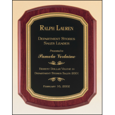 P3830 Rosewood stained piano finish plaque with a black textured center plate and florentine border.