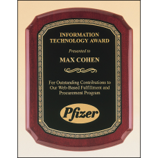 P3835 Rosewood stained piano finish plaque with a black brass plate and gold leaf design border
