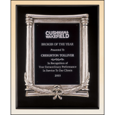 P3932 Black stained piano finish plaque with an antique silver finished frame casting and black aluminum engraving plate.
