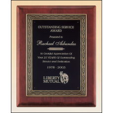 P3936 Rosewood stained piano finish plaque with an antique bronze finished frame casting and black brass engraving plate.
