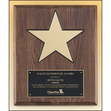 "P4135 Gold aluminum star (8"") on walnut stained  piano-finish board with black recessed area"
