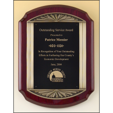 P4137 Rosewood stained piano finish plaque with an antique bronze finished frame casting and black brass engraving plate.