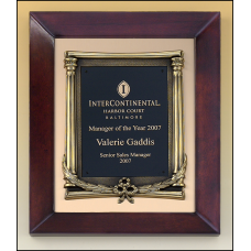 P4275 Cherry finish frame plaque with antique bronze finished frame on brushed metal gold background