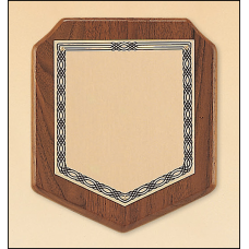 P530 American walnut plaque with a brushed brass plate.