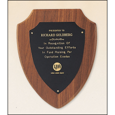 P810 American walnut plaque with a black brass plate.