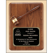 PG1687 American walnut plaque with walnut gavel.