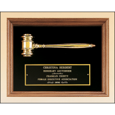 PG2440 American walnut frame with a gold electroplated metal gavel on Black velour background.
