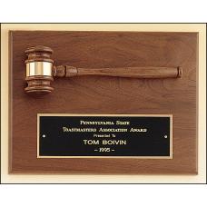 PG2782 American walnut plaque with walnut gavel.