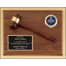 PG2784-X American walnut plaque with walnut gavel and activity insert.