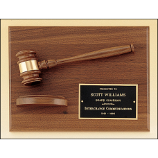 PG2786 American walnut plaque with walnut gavel.
