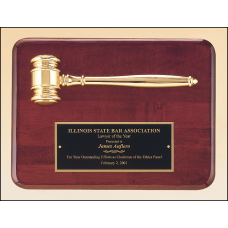 PG3751 Rosewood stained piano finish plaque with a gold electroplated metal gavel.