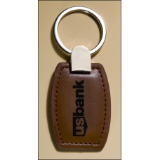 PK6131 Leather keyring with silver hardware.