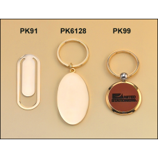 PK99 Keyring with leather front and brass back.