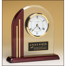 BC919 Arch clock with glass upright and rosewood piano-finish post and base.